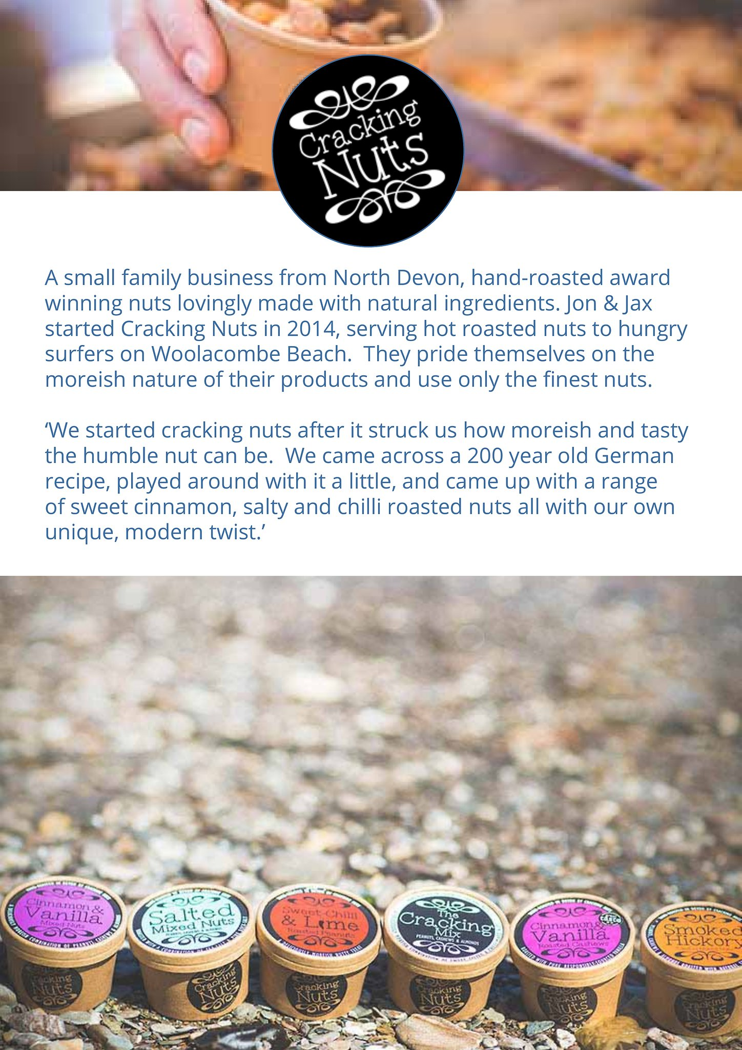 Cracking Nuts - Hand-roasted artisan nuts. Roasted in Devon using only the finest nuts and all-natural ingredients